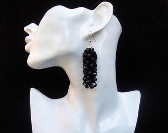 Black recycled earrings