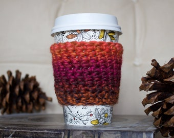 Autumn Ombre Coffee Cozy / Tea Cozy/ Cup Cozy/ Coffee Cover/ Coffee Sleeve/ Latte Cozy