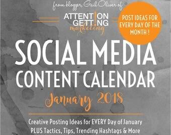 Social Media Planner / Social Media Content Calendar / Social Media Marketing Plan with POST IDEAS for Every Day of January 2018