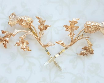 Rose Gold Thistle Scottish Hairpin (1), Leaf Branch Bobby Pin, Scotland, Woodland, Nature, Rustic, Wedding Bridal Hair Accessory