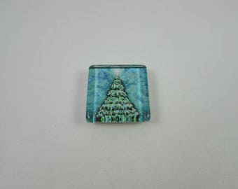 """Christmas Tree Needle Minder from Designs by Lisa 1"""" Glass Tile"""