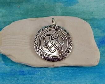 Sisters Pendant, Celtic Necklace, Inspirational Jewelry, Sister Knot Celtic Charm, Celtic Jewelry, Large Fine Silver Pendant