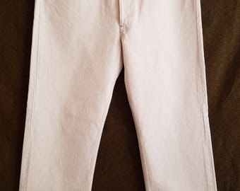 501 Levis Jeans White Denim 38x32 Button Fly 90s American Made USA