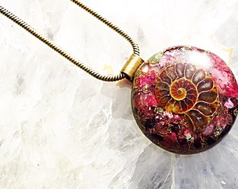 Powerful Orgone Pendant - Strawberry Quartz/Pink Tourmaline/Red Garnet/Ammonite/Pyrite - FREE WORLDWIDE SHIPPING!