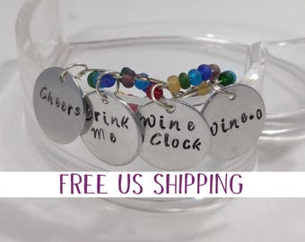 Wine Lover Gift, Wine Glass Markers, Gift for a Friend, Housewarming Gift, Wino, Wine OClock, Cheers, Drink Me, Gift Basket items, Fun Gift
