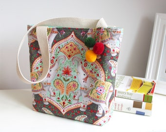 Elephants Tote Bag Book Bag Market Bag
