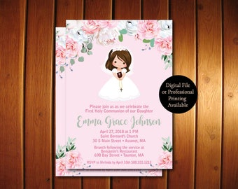 Girl First Communion Invites •  First Communion Invites • Spanish Available
