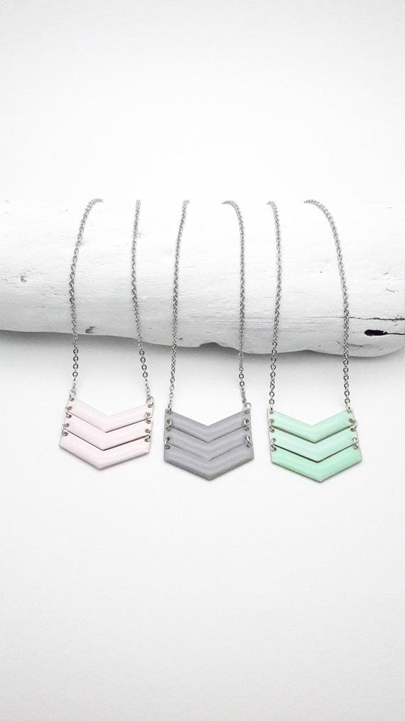 3 Chevrons Pastel Necklace silver stainless steel chain enamel pendant soft pink mint green gray//V triangle hypoallergenic necklace