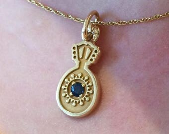 """17"""" 14K Yellow Gold Cable Chain Necklace with Bouzouki/Guitar Pendant"""