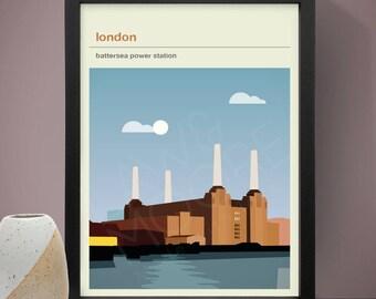 London - Battersea Power Station Poster, Art Print, City Poster, Travel Poster, Travel Print