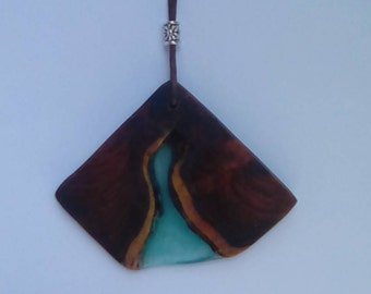 Handcrafted pendant Yew wood and resin