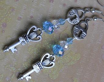 Alice in Wonderland earrings. Key earrings. Secret key earrings. Key to my heart earrings. Key and lock earrings. Fairy tale earrings