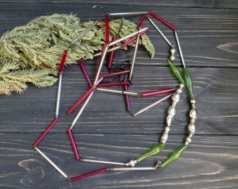 Glass Christmas Garland Glass beads constuction Bugle beads Combined ornament Pink Green Garland Soviet christmas decorations 206 cm (81'' )