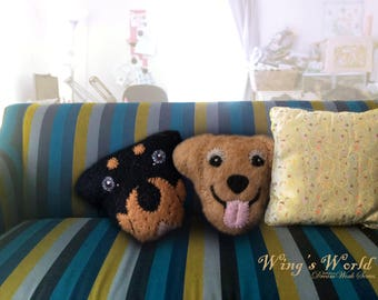Dog cushion Rottweiler Golden Retriever pillow Dog pillow Felt machine embroidered Gift for dog lover Decorative Throw cushion