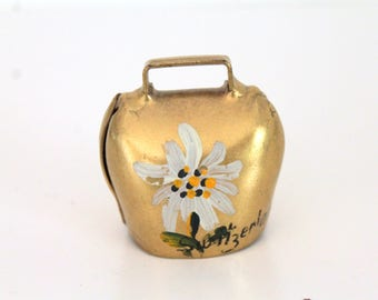Vintage Miniature Brass Cowbell Hand Painted Flowers Brienz, Switzerland