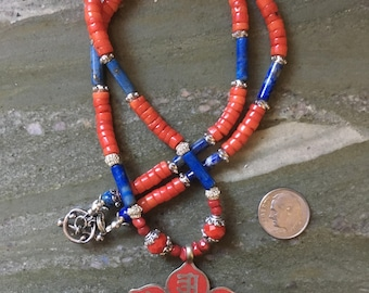 Red Coral and Lapis Necklace