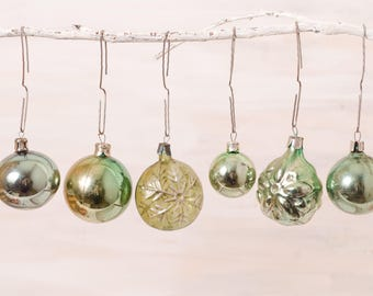 Christmas glass ornaments set gold green snowflake vintage retro Christmas home decor Christmas tree winter home decoration Soviet Christmas