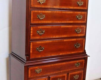 Dixie Chippendale Style Mahogany Highboy Dresser Chest 11 Drawers Tall Queen Ann, Insured Safe Nationwide Delivery Available