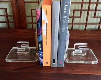 Vintage Thick Lucite Bookends with Initial S