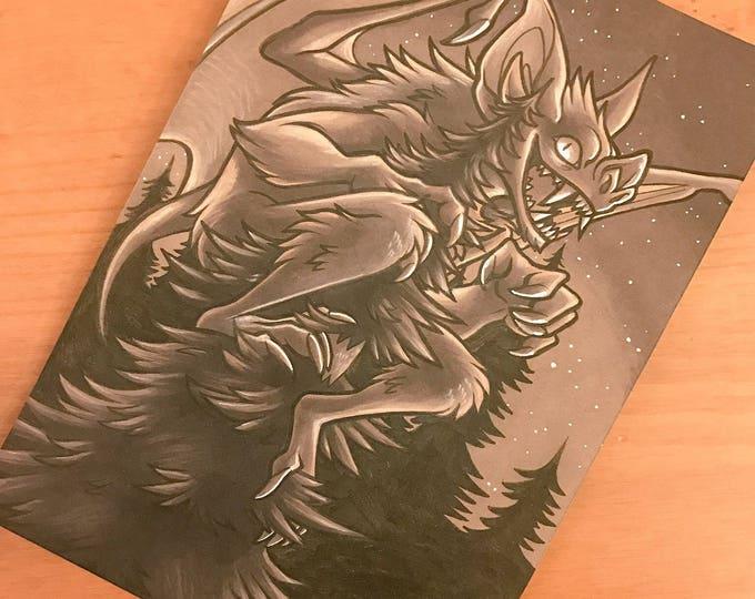 Cryptid Inktober 2017 Illustration - Batsquatch