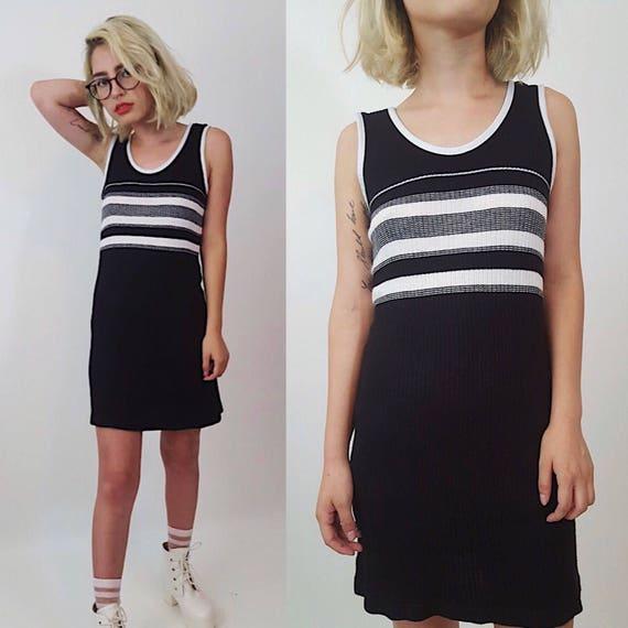 Vintage 90s Striped Minidress XS Small -Skater Girl Spaghetti Strap Everyday Dress -Womens Black and White 1990s Grunge Stripe Summer Dress