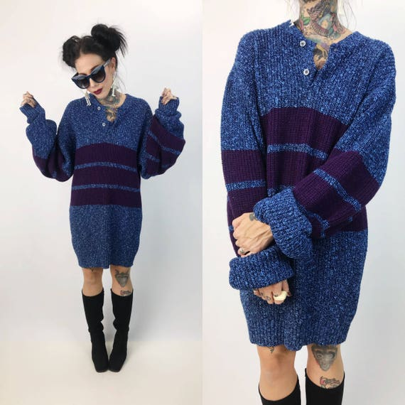 Handmade Knit Slouchy Sweater Dress One Size - Blue Striped Long Knit Pull Over - BOHO Hippie Baggy Sweater Knitted Acrylic Striped Pullover