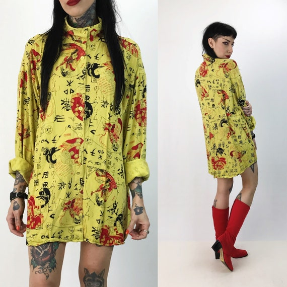 Vintage Allover Print Japanese Style Geisha Kanji Button Up Large - Slouchy Yellow Red Traditional High Neck Button Front Top Back Pleated