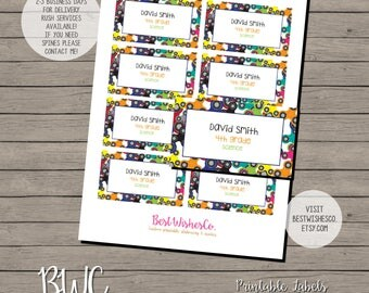 School Labels, Spinner Labels, Back To School Stickers, Printable Labes, Gift Tag, Spinner Sticker, Digital Files