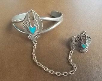 Vintage~G&S~Sterling Silver~ Slave Bracelet~1985~Turquoise~Big Wings~Harley Rider~Motorcycle~Biker~Jewelry~Cuff Bangle Bracelet Jewelry~Nice