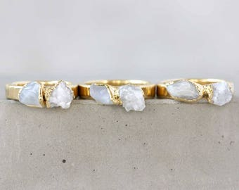 moonstone ring / druzy ring / moonstone stacking ring / june birthstone ring / druzy stacking ring / quartz ring / crystal stacking ring