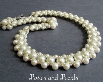 """Ivory Pearl Collar Necklace, Glass Beads & Sterling Silver Toggle Clasp, Wedding Jewelry, Vintage Inspired, """"Surround"""""""