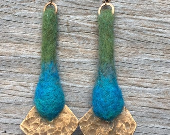 Needle Felted Wool and Hammered Brass Earrings - Blue Green