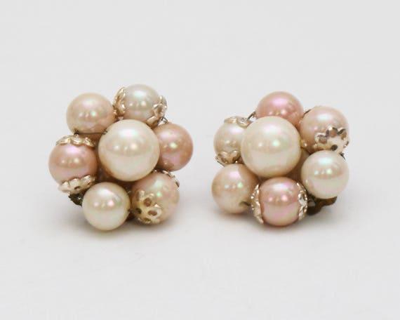 Vintage 1950s Blush Bead Cluster Clip Earrings
