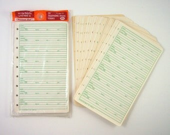 "Telephone Index Forms 754B-11 Refill Pages, Fit Into ""Pocket-Ref"" Visible Binders, Vintage 1960s, Wilson Jones Record Keeping Essentials"