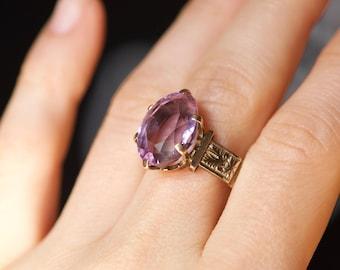 Reserved for CARMEN /// Large Antique Victorian 10k Rose Gold Purple 5-6 Carat Amethyst Gemstone Ornate Engraved Ring Size 8.5