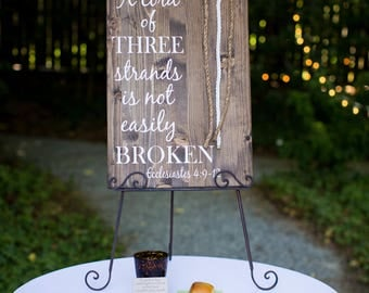 A Cord of Three Strands Wood Sign for Weddings inWalnut Stain Featuring  Ecclesiastes 4 Scripture (Standard)