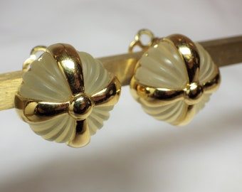1980s Vintage Earrings REPLICA Clip Translucent Tufted Round with Goldtone