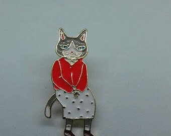 A quirky grey unique she-cat enamel brooch pin