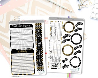 New Years Note Page Stickers / New Year Resolution Note Page Stickers for Erin Condren / New Years Stickers / New Year Planner Stickers