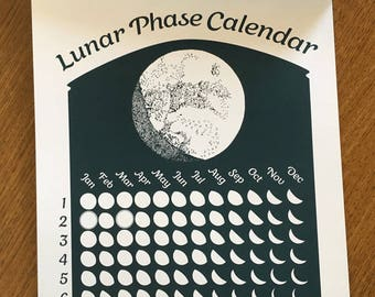Teal Green 2018 Lunar Phase Calendar in Dark Teal