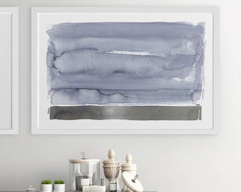 Modern Gray Painting, Abstract Landscape, Large Landscape Painting, Watercolor, Landscape Print,Landscape Art,Gray Artwork, Modern Landscape