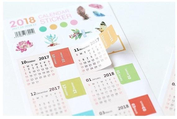 Calendar Monthly Stickers : Calendar sticker monthly label diy