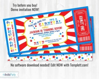 Carnival Invitations - Carnival Theme Party - Carnival Birthday Invitation - Carnival Ticket - INSTANT DOWNLOAD - Edit with Templett.com