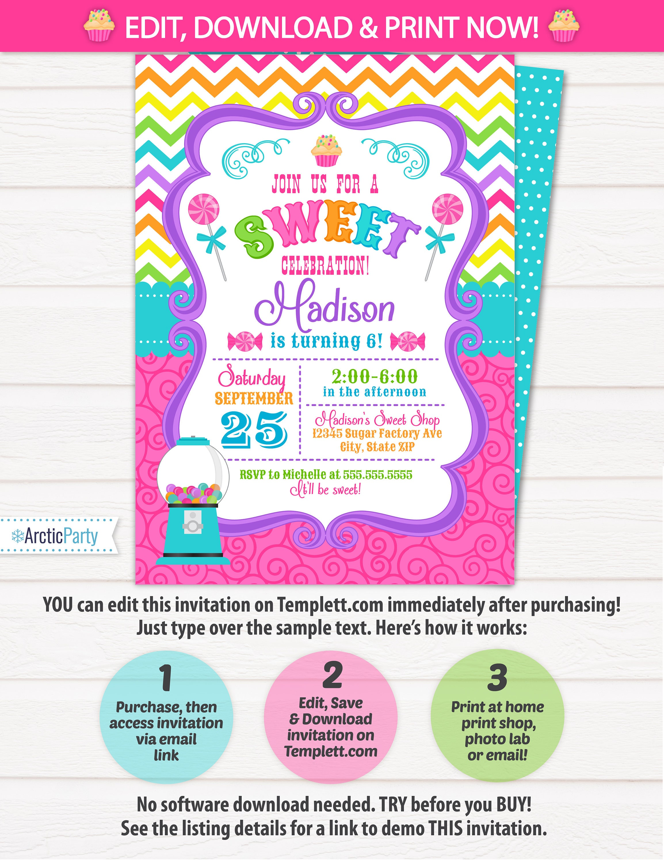 Candyland Invitations Candy land Birthday Invitation Candy – Cupcake Birthday Invites