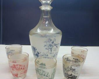 Vintage French Decanter & Glasses Set Retro 1960's French Barware
