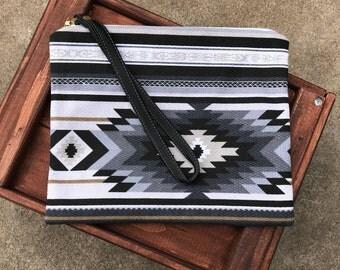 Printed aztec clutch