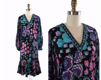 1980s Averardo Bessi Dress / 80s Dress / Sheer Sleeve Flamenco Hem size M / Purple and Blue Patterned Dress