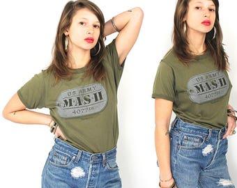 Vintage Mash T-Shirt - 80s Original US Army Mash 4077th T-Shirt - 1981 Mash 50/50 Worn Thin Army Green Distressed T-shirt - 80s Mash T-shirt
