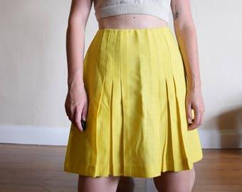 70's Lemon Pleated Skirt