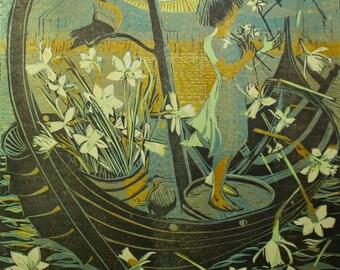 Hafren's Daffodils. Reduction linocut print
